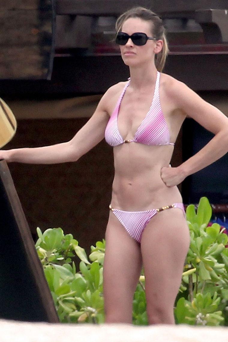 Hilary swank pink bikini