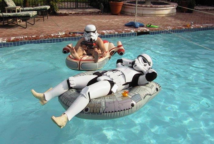 Funny Pool Floating Drunk Guy