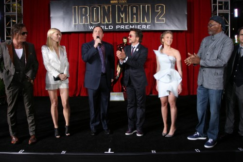Mickey Rourke, Gwyneth Paltrow, Jon Favreau, Robert Downey Jr, Scarlett Johansson and Samuel L. Jackson